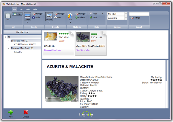 Click to view LignUp Multi Collector 3.1.8 screenshot